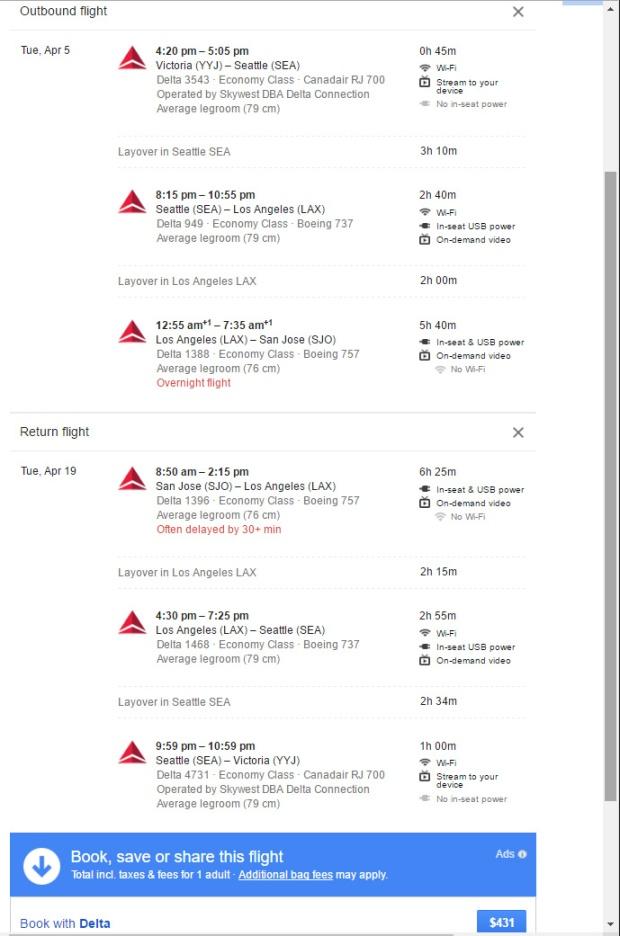 YYJ to SJO March 24 2016 google flights