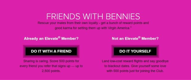 Virgin America Elevate points