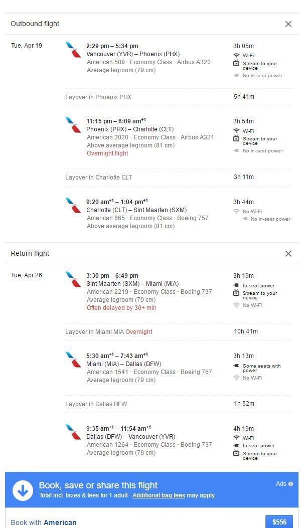 YVR to SXM April 4 2016 google flights