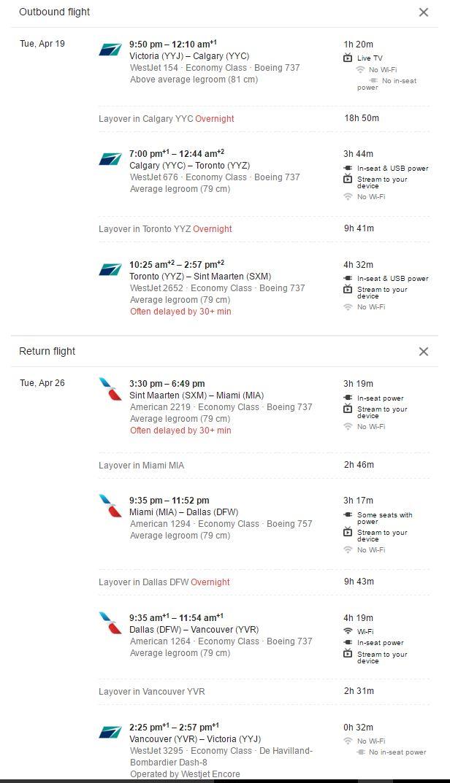 YYJ to SXM April 4 2016 google flights